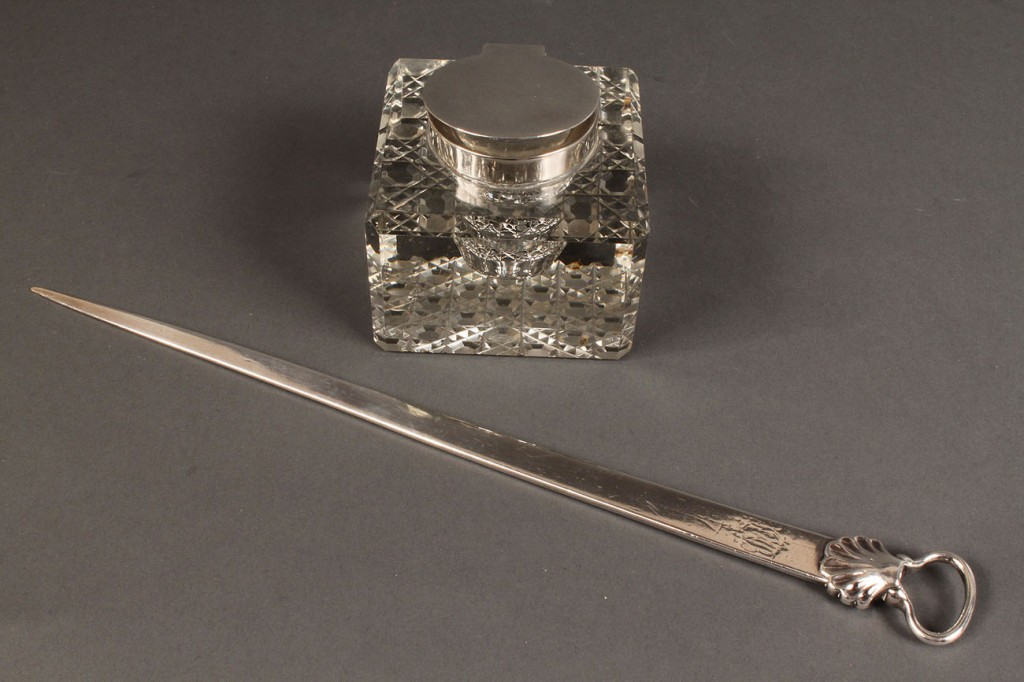 Lot 69: Lot of 2 Desk Items, Page Ripper & Inkwell