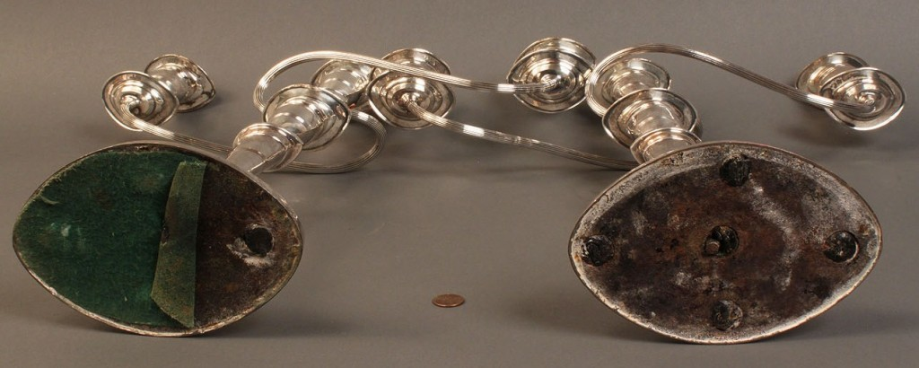 Lot 74: Two Pairs of Silver Candelabras