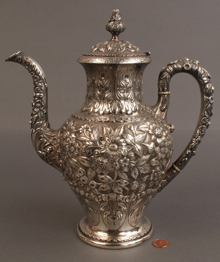 Lot 77: S. Kirk & Son Repousse sterling Coffee Service