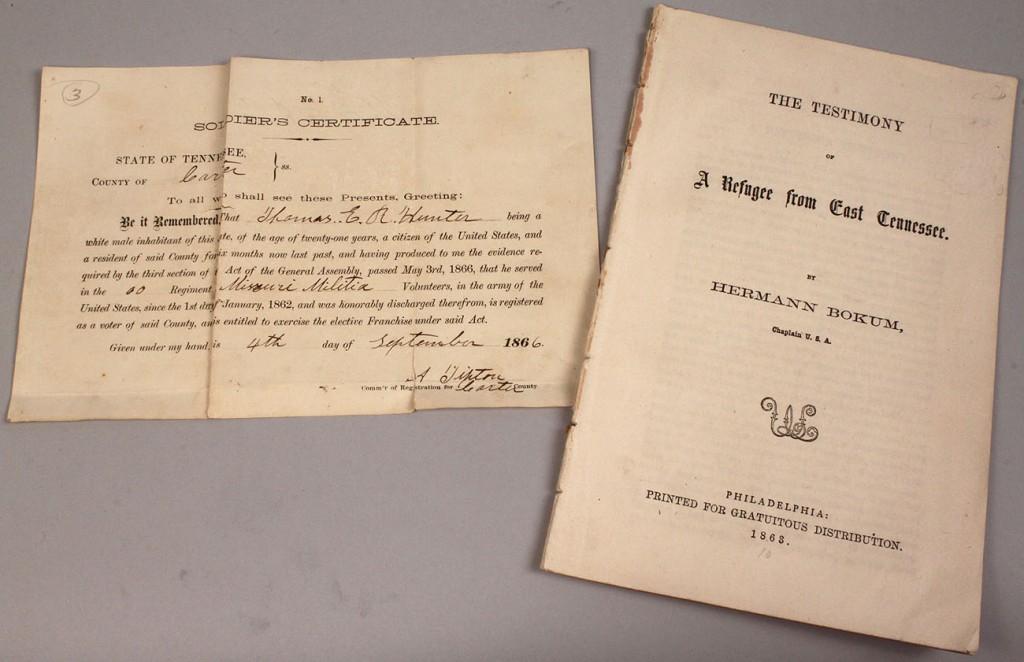 Lot 7: Lot of 2 E. TN Civil War era documents