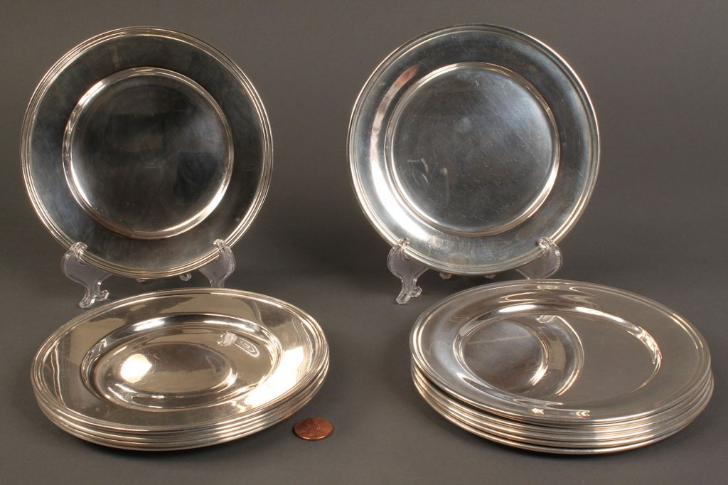 Lot 82: Lot of 12 Sterling Silver Bread & Butter Plates