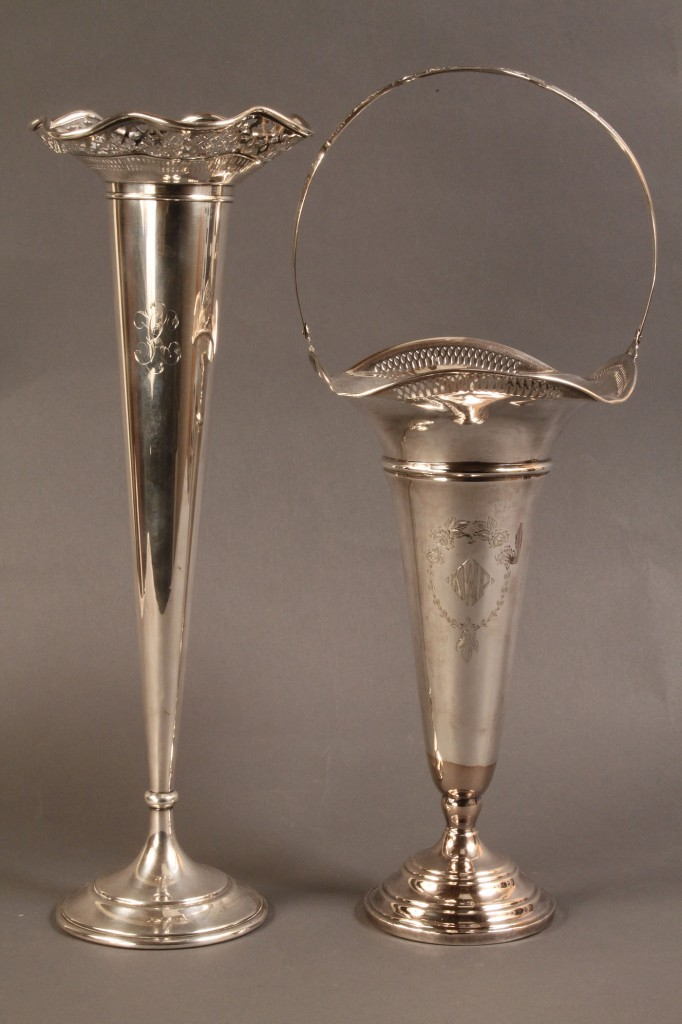 Lot 85: Lot of 2 Sterling Silver Trumpet Vases