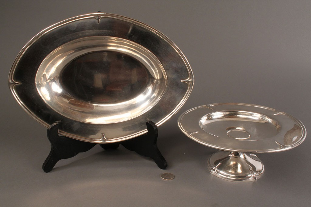 Lot 90: 2 Sterling Silver Art Nouveau Serving Dishes