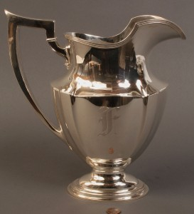 Lot 93: Gorham Sterling silver pitcher, monogrammed