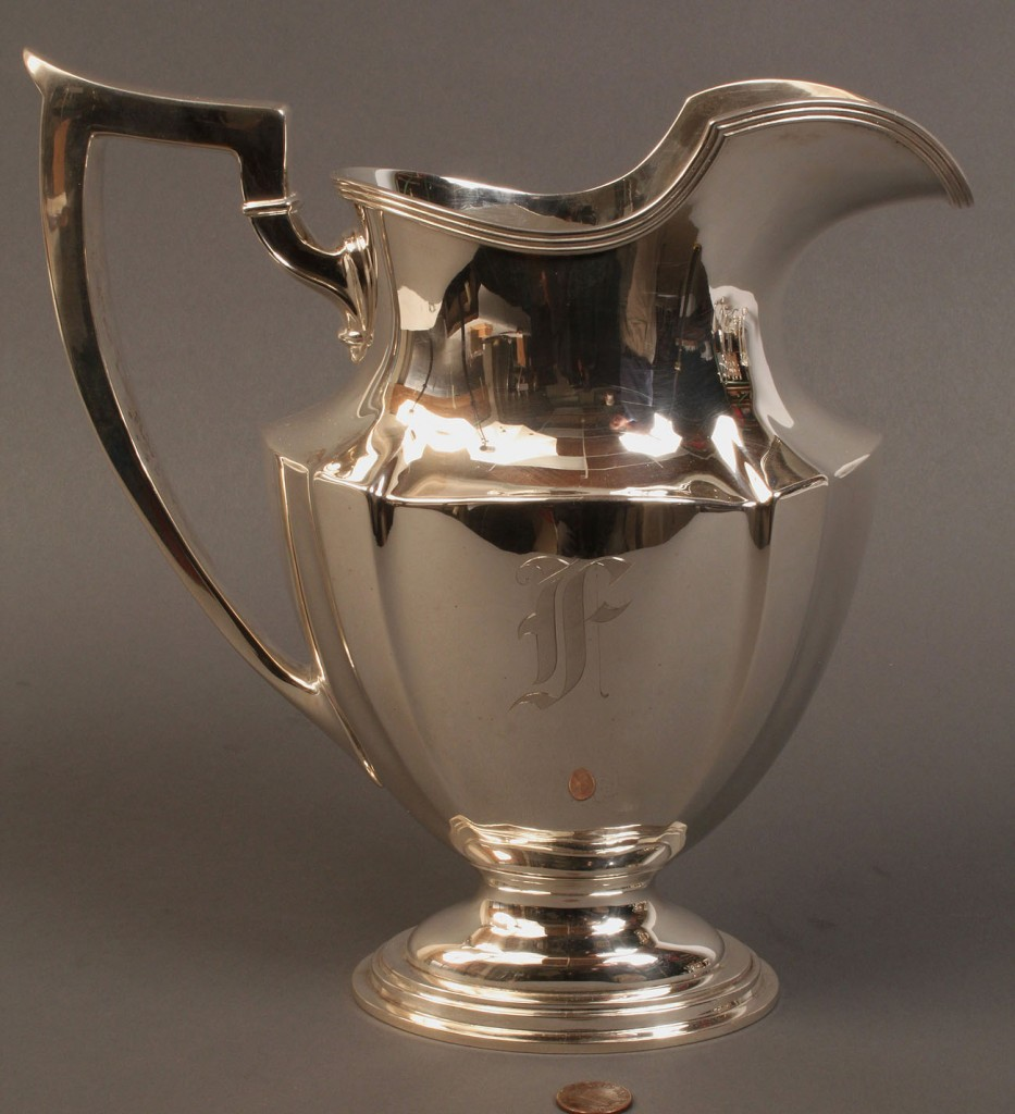 Lot 93: Gorham Sterling silver pitcher, monogrammed