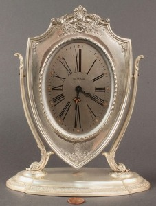 Lot 94: Waltham Clock, Reed & Barton Sterling Case