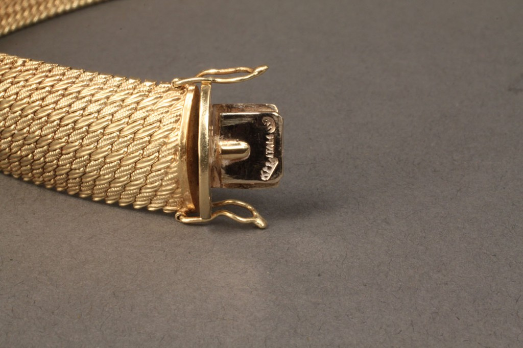 Lot 95: 14K woven gold bracelet