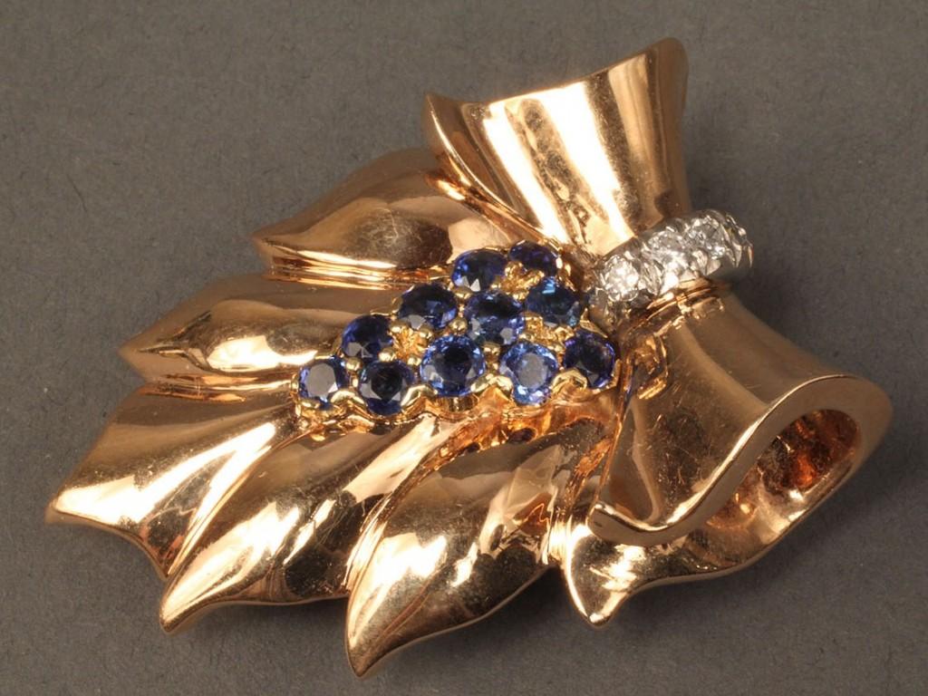Lot 98: Tiffany 14K Sapphire & Diamond Ribbon Brooch