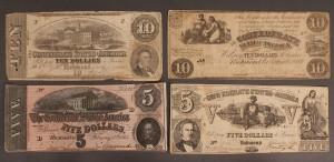 Lot 9: Confederate currency, 4 pcs