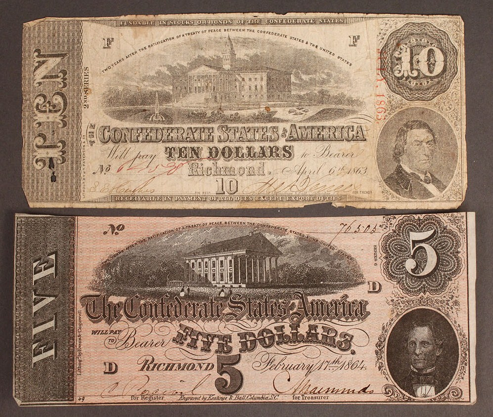 Lot 9: Confederate currency, 4 pcs