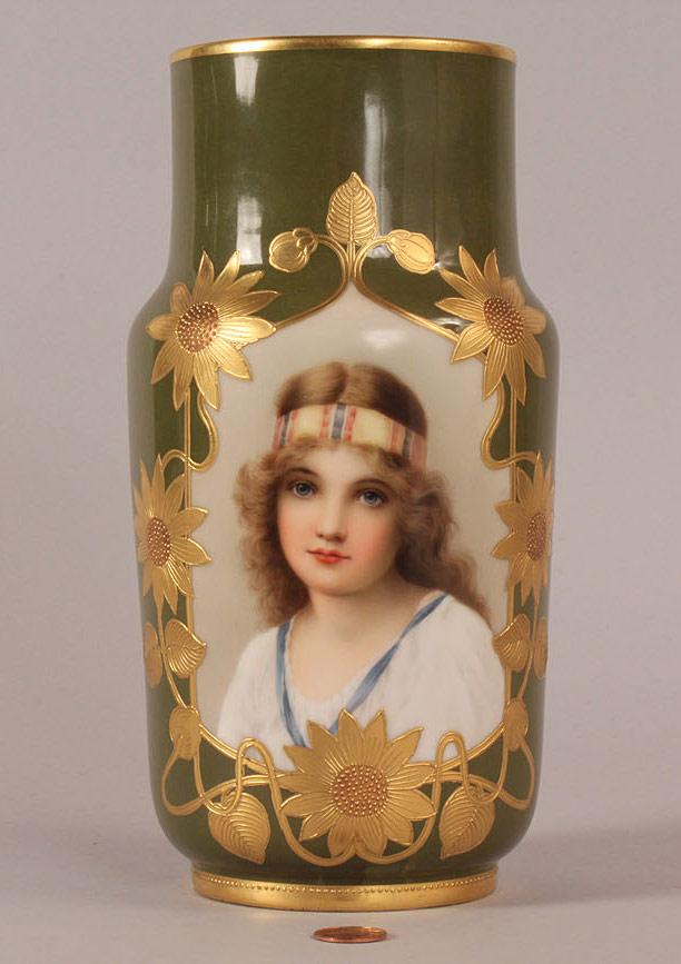 Royal Vienna Decorated Portrait Vase