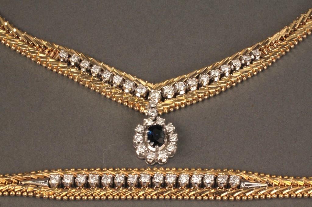 18K Sapphire and Diamond Necklace & Bracelet