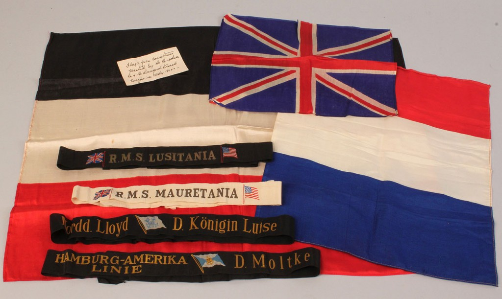 Grouping of early cruise & transport ship items – Lusitania, Mauretania, others