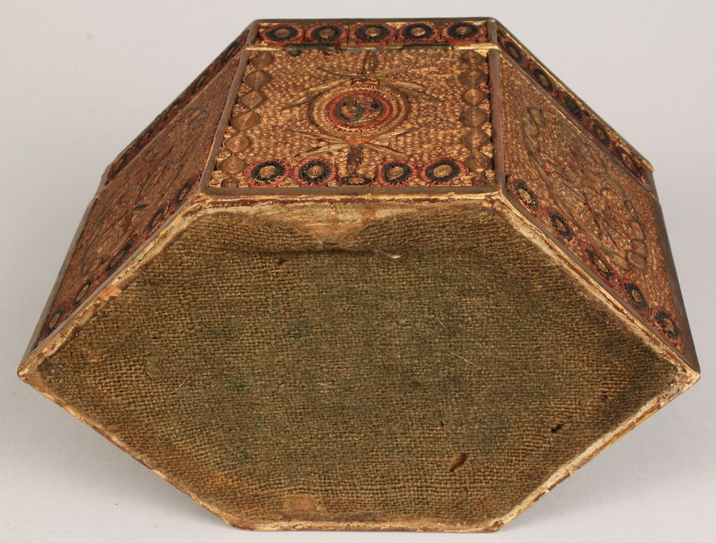 Lot 100: Quillwork box hexagonal