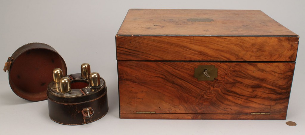 Lot 102: English Traveling writing box and toiletry/cocktai
