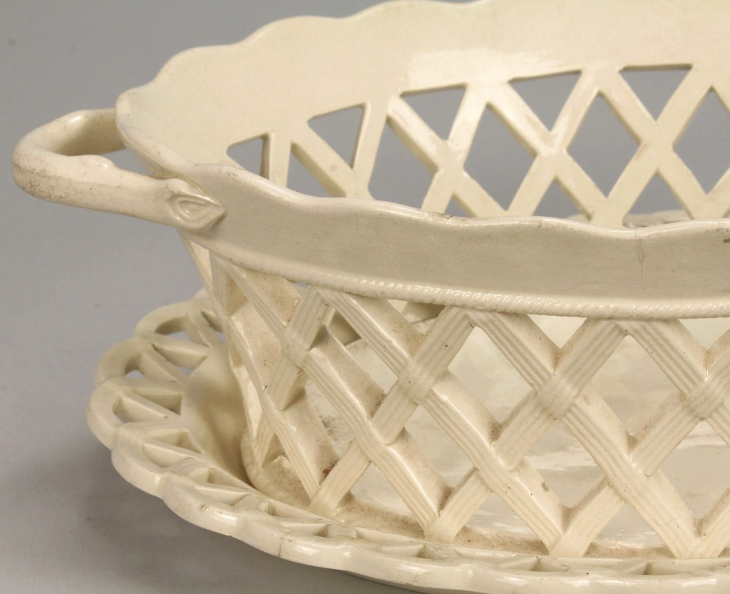 Lot 104: Creamware basket, covered pot, and Liverpool mug