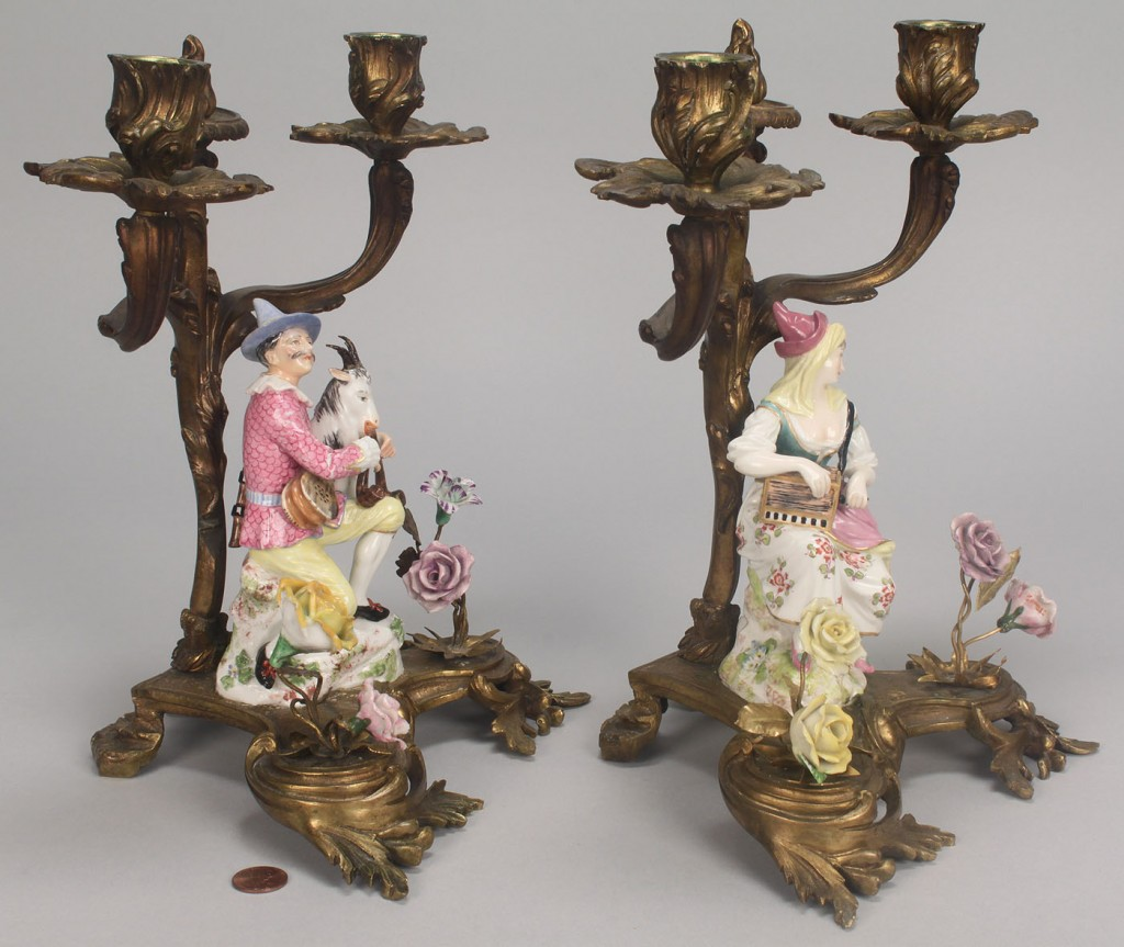 Lot 105: Pair Gilt Bronze & Meissen Porcelain Candleabra