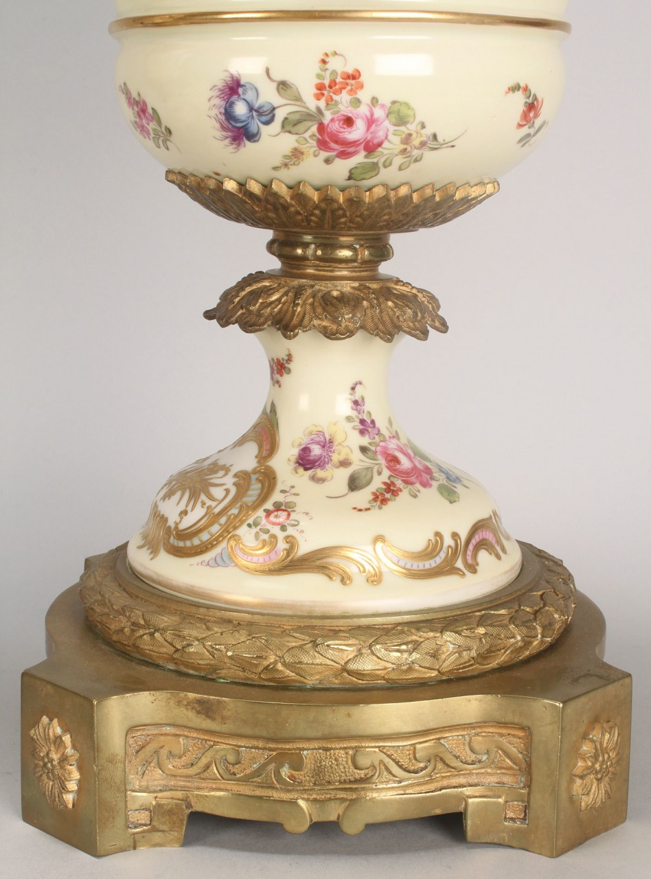 Lot 106: Pair of Sevres Ormolu Urns, 19th century