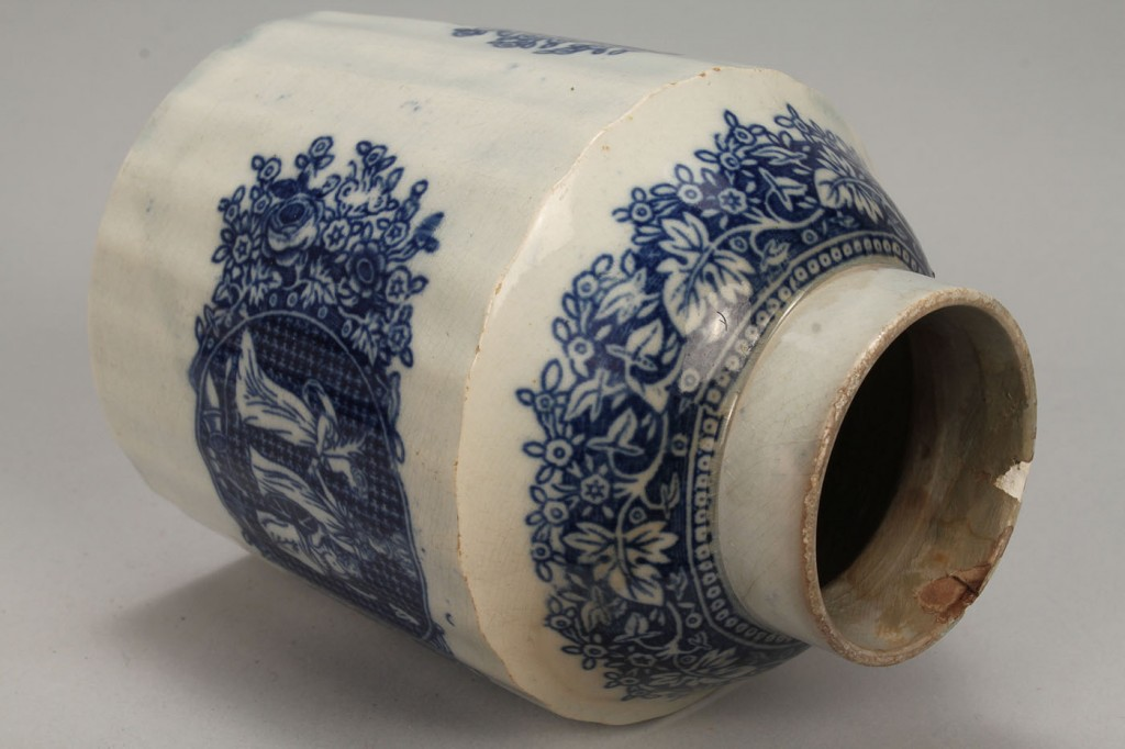 Lot 107: Triple Neck Vase and Pearlware Tea Caddy