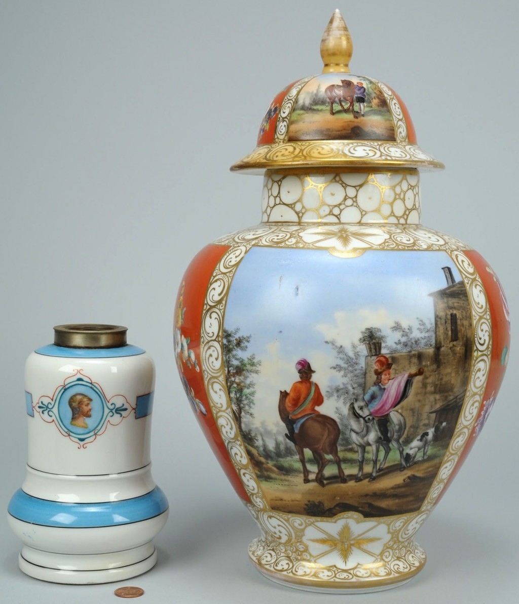 Lot 108: 2 19th Century European Porcelain Items, H. Wolfso