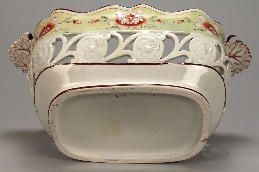 Lot 109: Pierced creamware basket w/ polychrome decoration