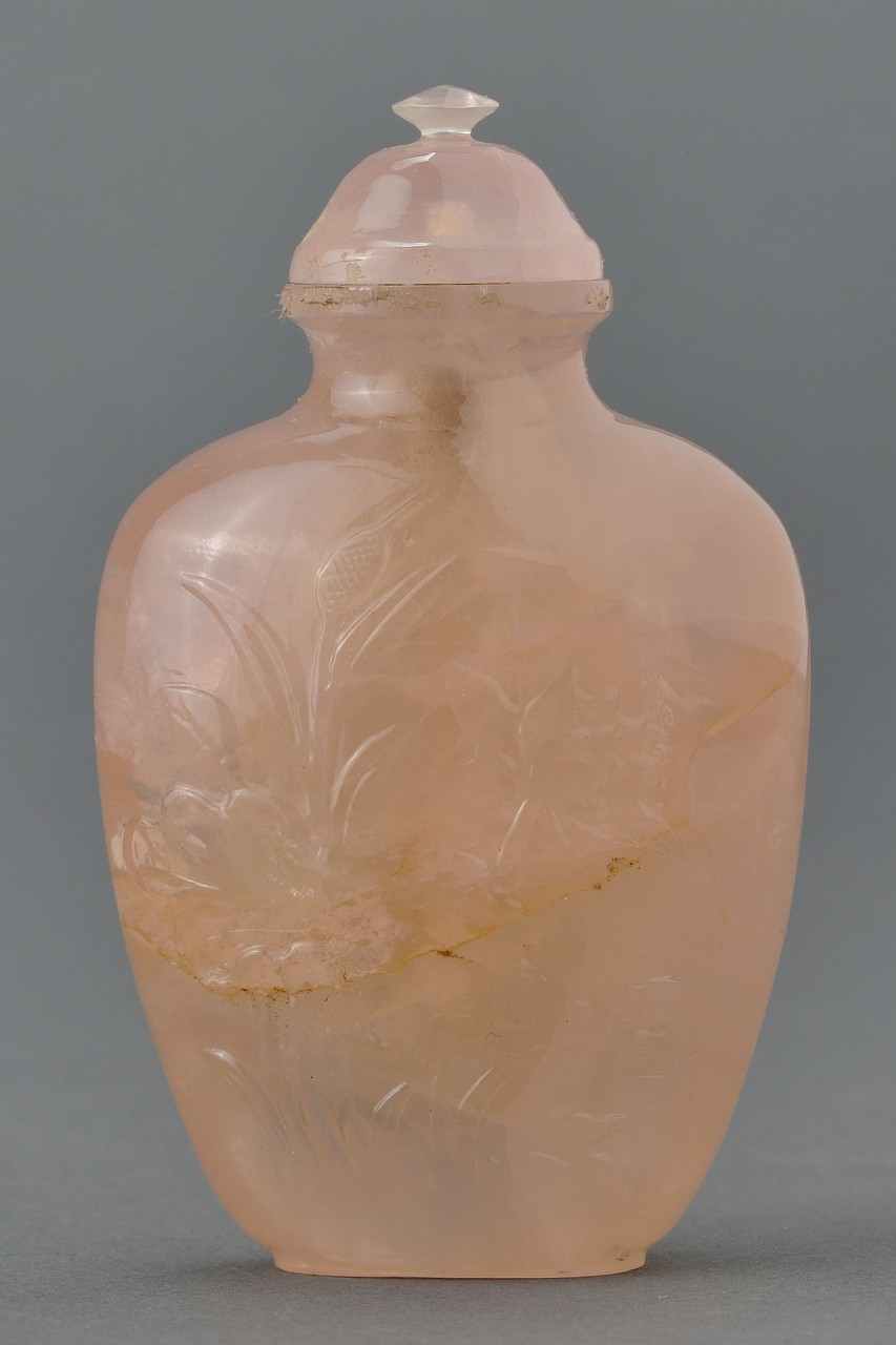 Lot 10: Chinese Carved Rose Quartz Snuff Bottle