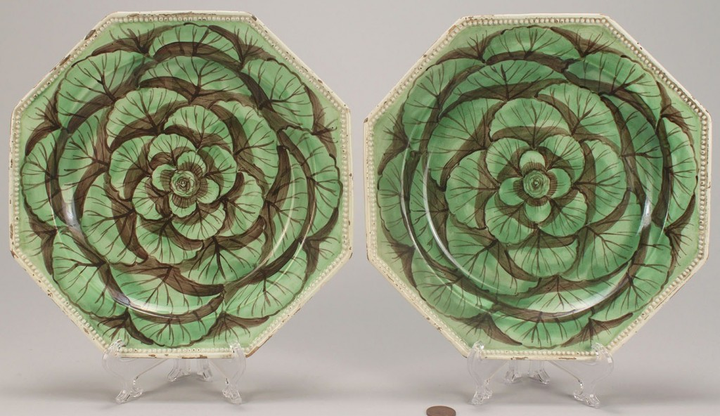 Lot 110: 2 Creamware Cabbage Leaf Plates