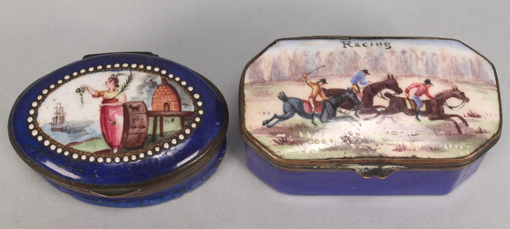 Lot 112: 2 Battersea boxes: Horse Racing and British Navy r