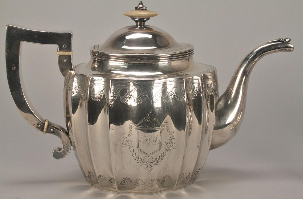 Lot 114: American coin silver tea set, Gale, Wood & Hughes