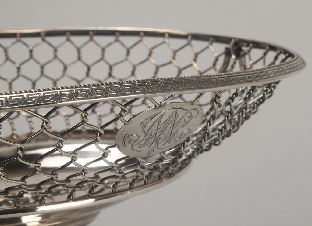 Lot 116: Silver cake basket, Gale & Son NYC
