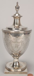 Lot 118: Federal coin silver sugar urn, engraved decoration