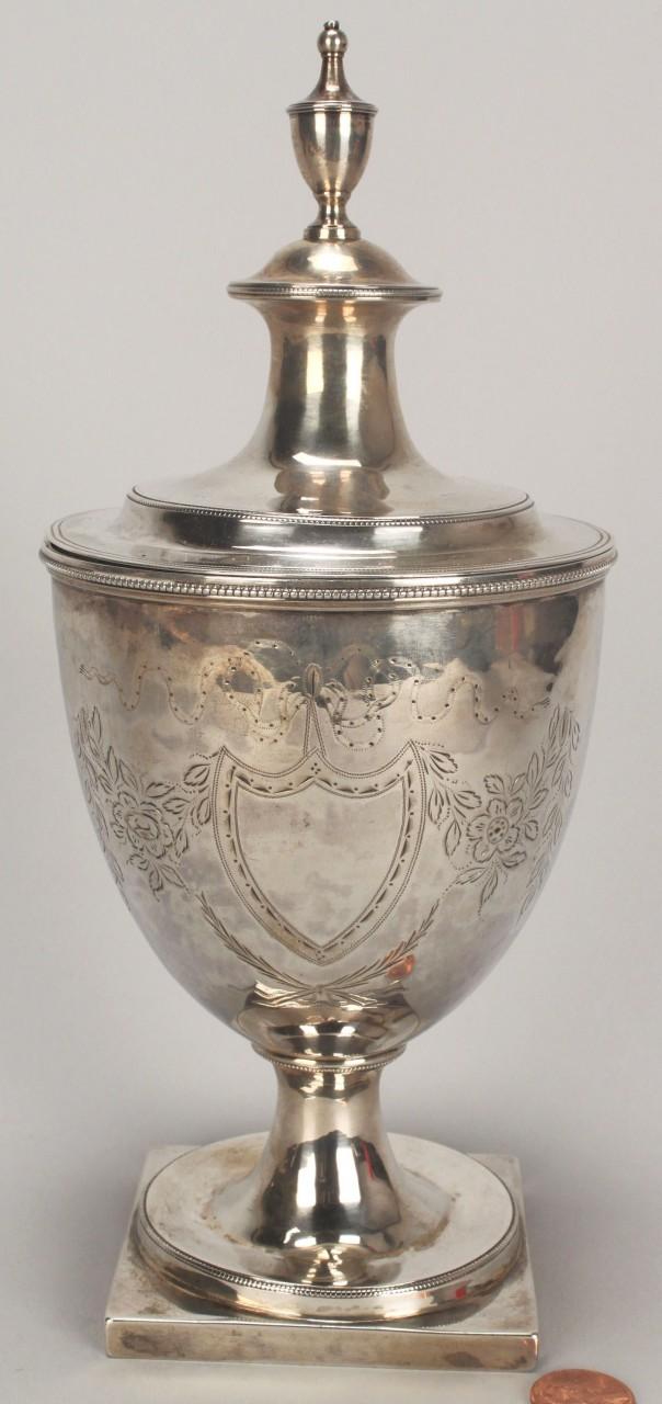 Lot 118: Federal coin silver sugar urn, engraved decoration
