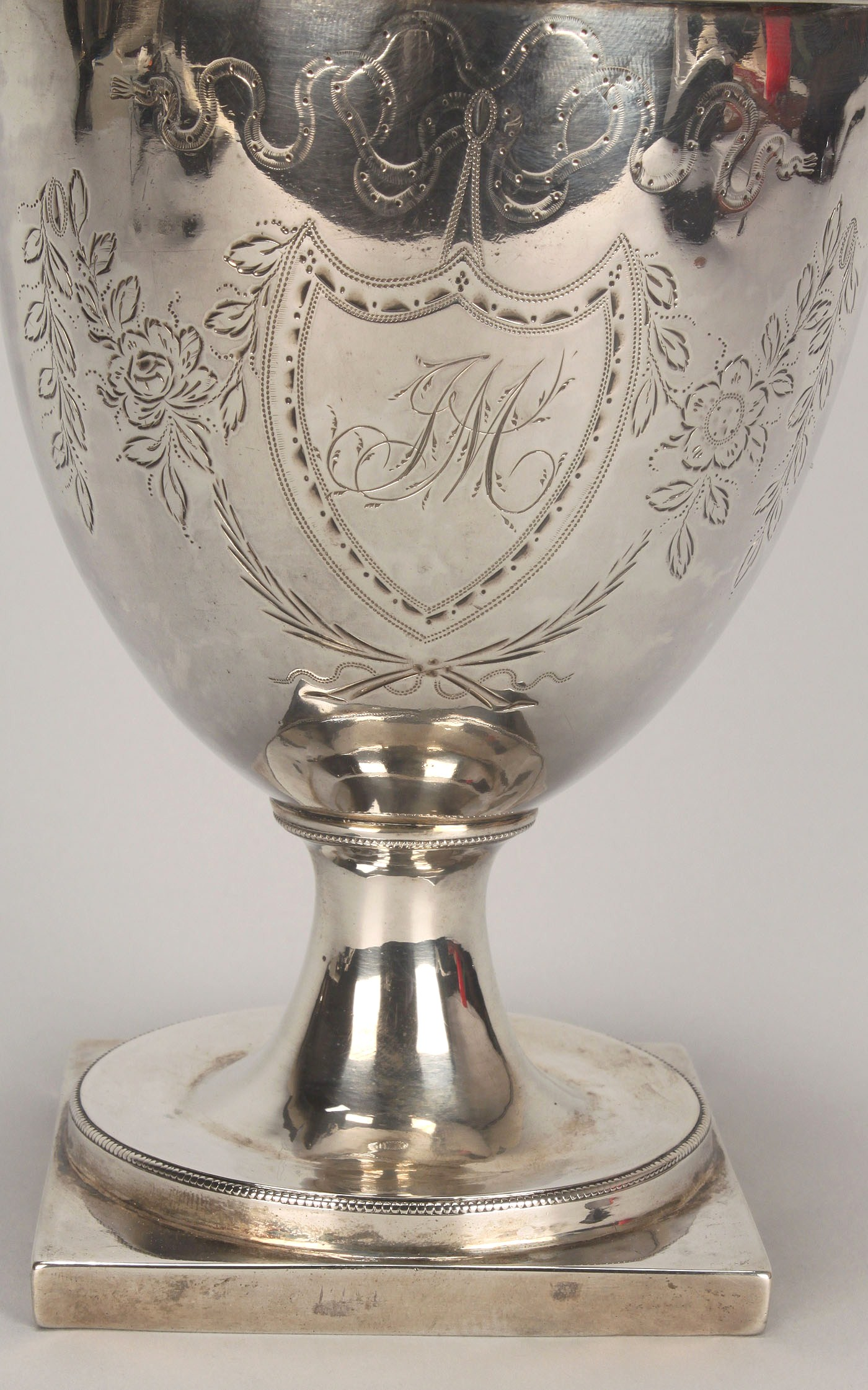 Lot 118 Federal Coin Silver Sugar Urn Engraved Decoration