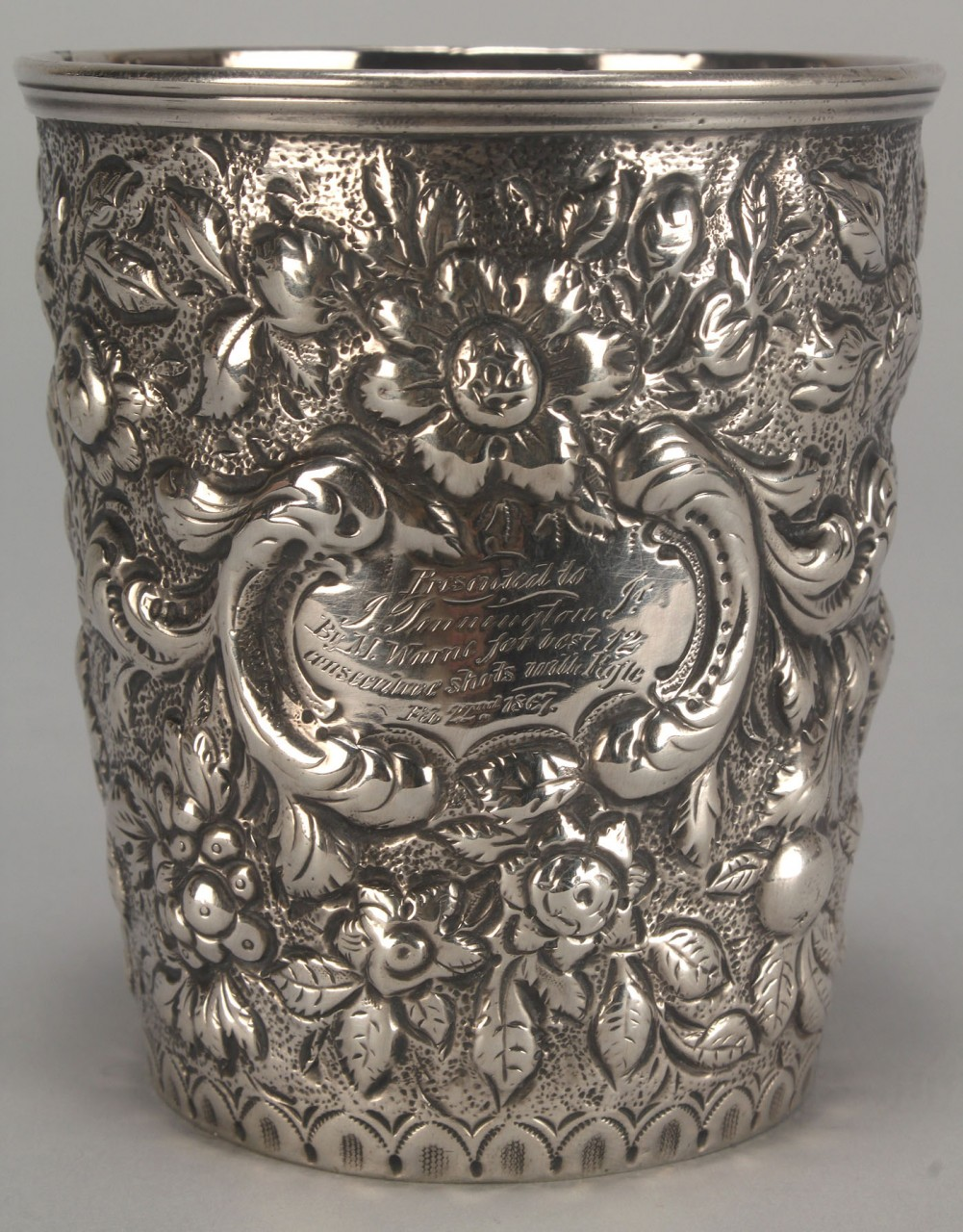 Lot 120: Kirk Repousse silver sporting presentation cup