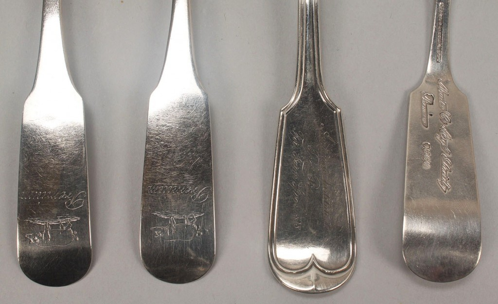 Lot 124: 4 pcs Agricultural Coin Silver flatware inc pig en
