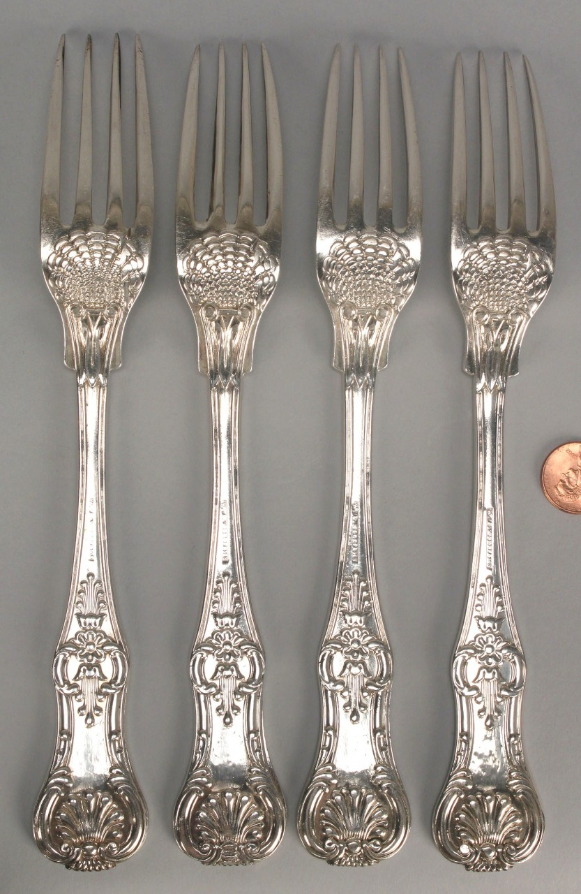 Lot 125: 4 King Pattern silver forks, W.A. Williams
