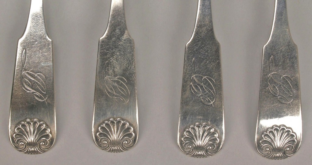 Lot 126: 7 Georgia Coin silver spoons
