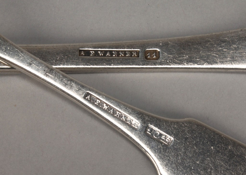 Lot 129: Baltimore silver ladle and 8 spoons