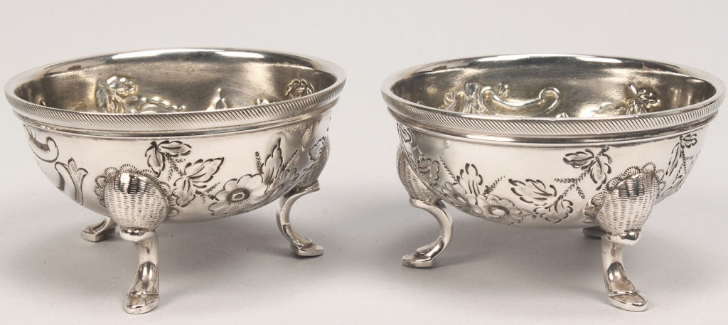 Lot 131: Four Coin Silver Salt Cellars incl. New Orleans