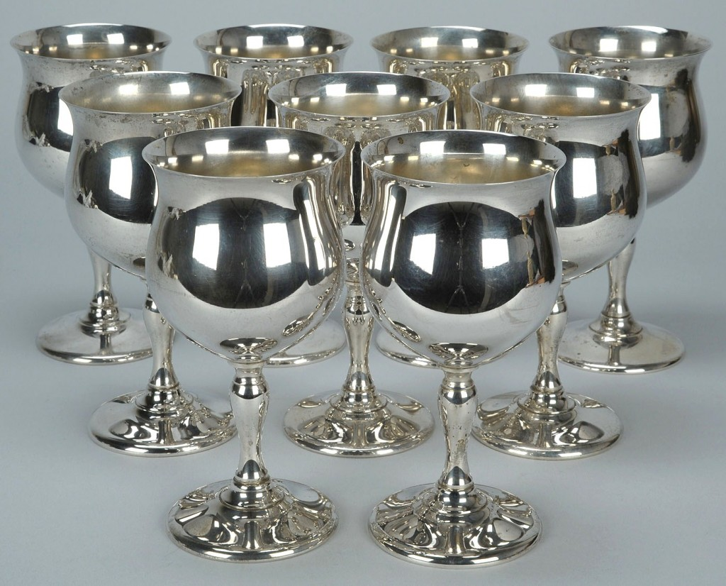 Lot 138: 9 Fisher Sterling Silver Goblets