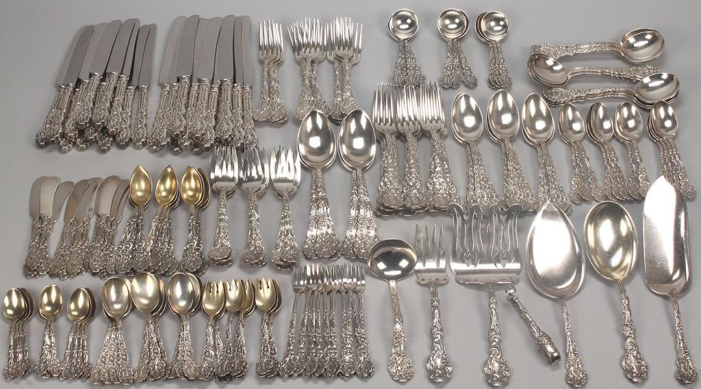 Lot 139: Gorham sterling 1888 Versailles flatware, 196 pcs