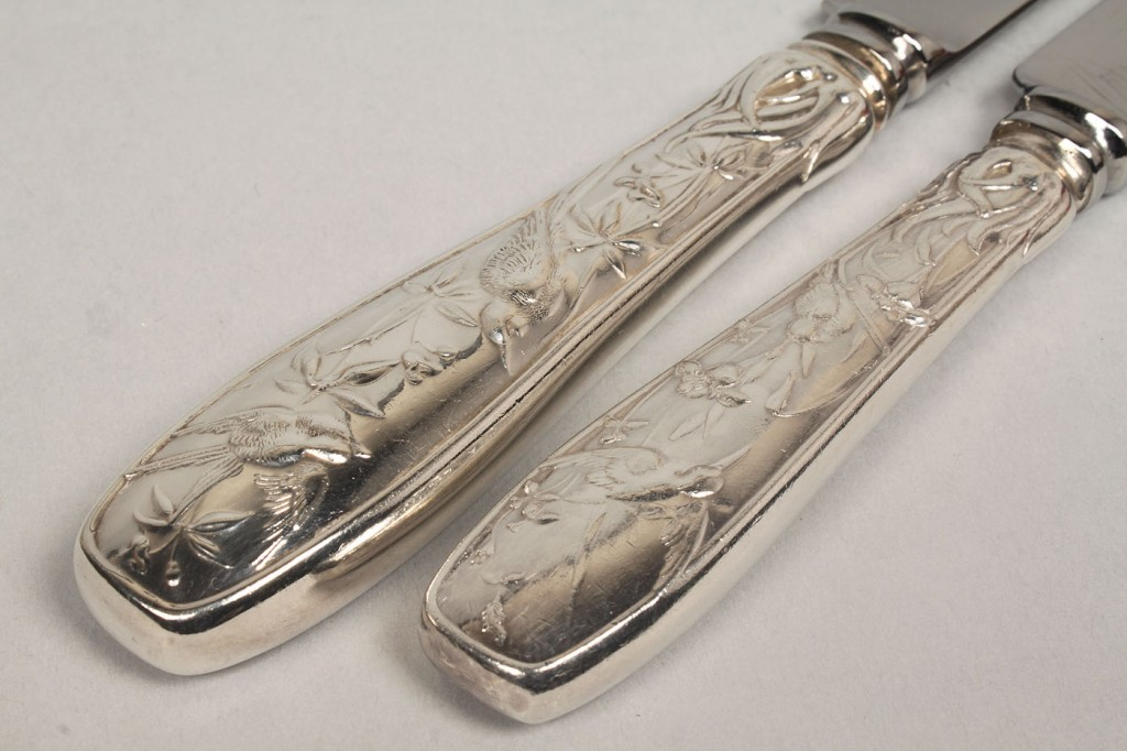 Lot 140: Tiffany Sterling Flatware, Audubon, 61 pcs