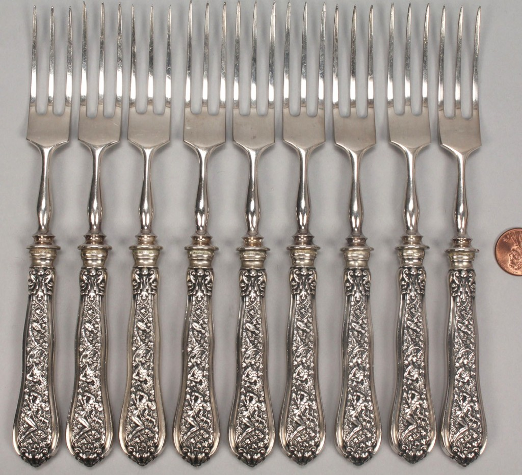 Lot 141: Tiffany Olympian Pattern, 9 Strawberry Forks