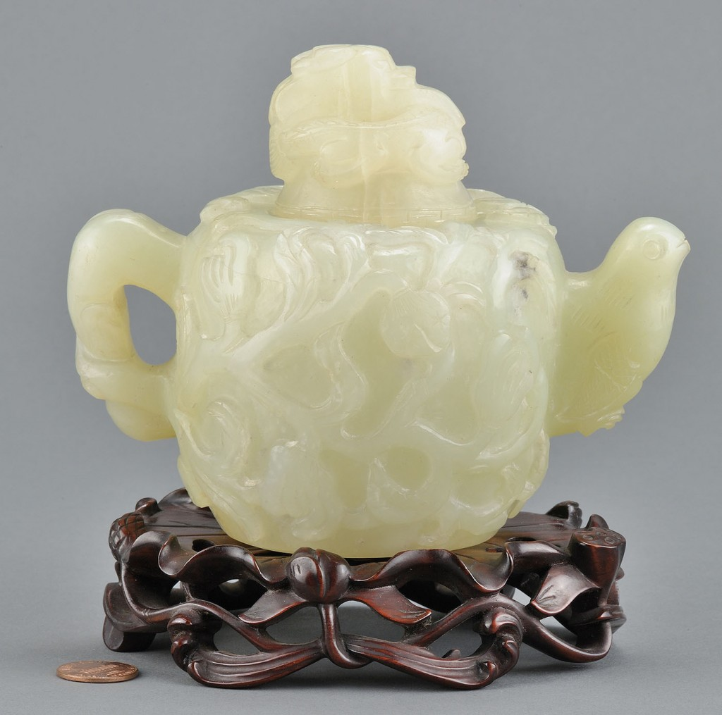 Lot 14: Chinese Carved Jade Teapot, Mughal style