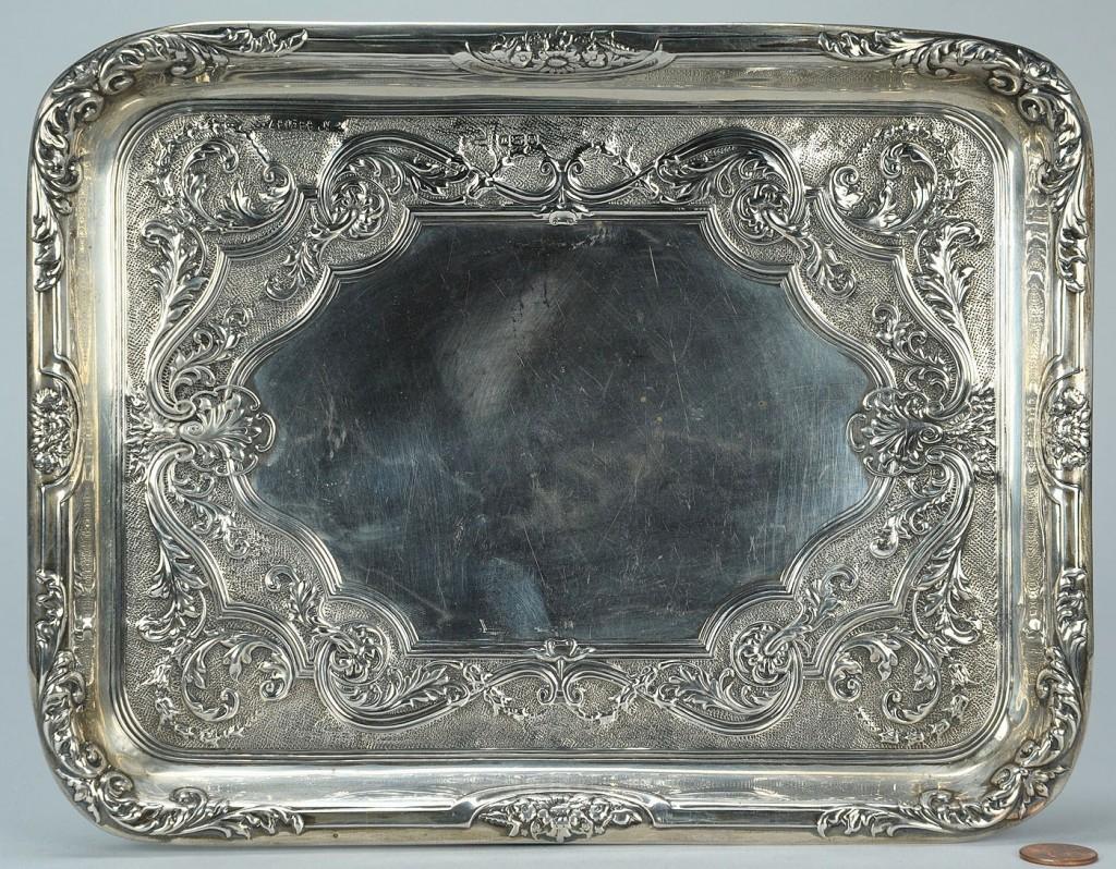 Lot 153: Edwardian sterling silver tray