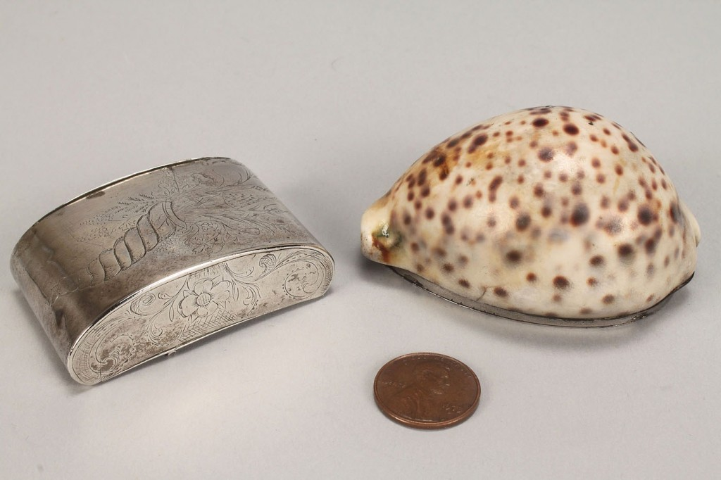 Lot 159: 2 Silver Snuff Boxes, Inc. Cowry Shell