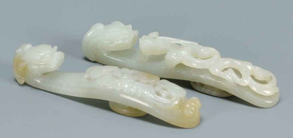 Lot 15: Pair Chinese Carved Jade belt hooks