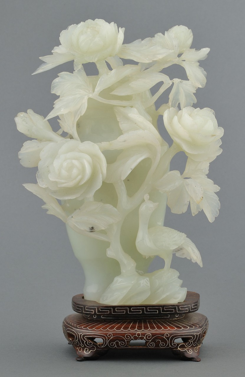 Lot 16: Chinese Carved Jade Covered Vase