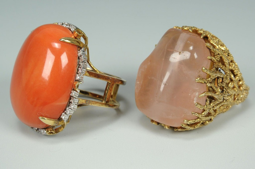 Lot 170: 2 Rings:14K Gold & Red Coral w/ Dia plus 10K Quart