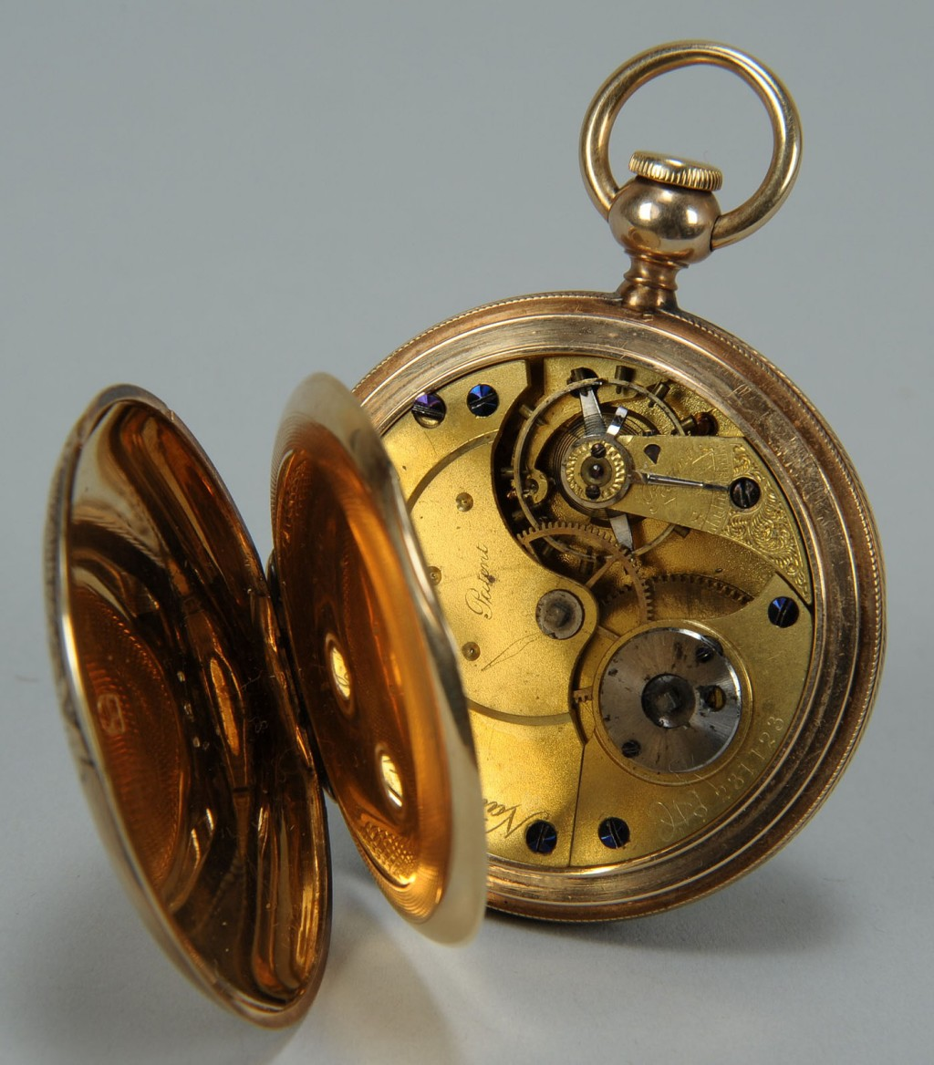 Lot 171: 14K gold Elgin Pocket watch, bird decorated face